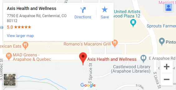Map of Centennial CO Chiropractors